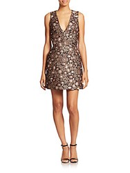 Alice Olivia Pacey V Neck Lantern Dress Gold Multi
