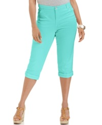 Style And Co. Plus Size Tummy Control Capri Jeans Pacific Aqua