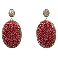 Latelita London Stingray Pave Oval Earring Garnet Red Rose Gold Pink