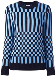 House Of Holland Striped Checked Jumper Blue