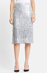 Nina Ricci Washed Sequin Skirt Silver