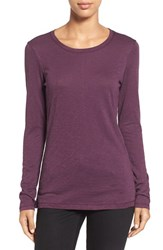 Caslonr Women's Caslon Long Sleeve Slub Knit Tee Purple Bramble