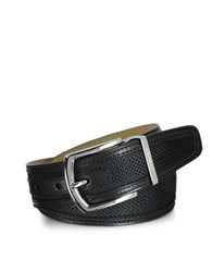 Moreschi St. Barth Black Perforated Nabuk And Leather Belt