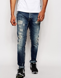 Love Moschino Jean Straight Leg Mid Wash Distressing Blue