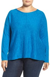 Eileen Fisher Plus Size Women's Organic Linen And Cotton Bateau Neck Sweater Crystal Blue