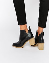 Miista Kendal Heeled Leather Ankle Boots Black Natural