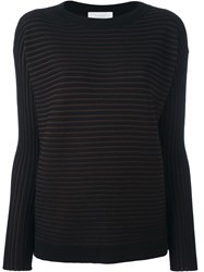 Zanone Ribbed Sheer Pullover Black
