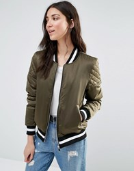 Brave Soul Retro Bomber With Quilted Sleeves And Contrast Hem Khaki Green