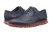 Cole Haan Zerogrand Ox No Stitch Blazer Blue Men's Lace Up Wing Tip Shoes