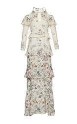 Vilshenko The Annabelle Print Jacquard Tiered Full Length Dress White