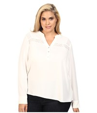 Calvin Klein Plus Size Long Sleeve Top W Lace At Yoke Soft White Women's Long Sleeve Pullover