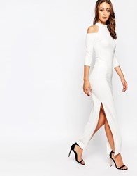 Wal G Maxi Dress With Cold Shoulder White