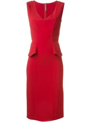Ermanno Scervino Peplum Fitted V Neck Dress Red