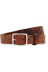 Rag And Bone Boyfriend Distressed Textured Leather Belt Brown
