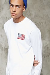 Forever 21 American Flag Patch Sweatshirt White Multi