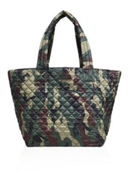 M Z Wallace Oxford Medium Metro Camouflage Quilted Nylon Tote Green Camo