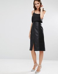 Oasis Leather Look And Suede A Line Midi Skirt Black