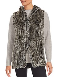 Saks Fifth Avenue Rabbit Fur Hooded Vest Snow