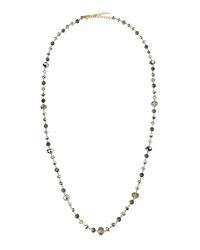 Emily And Ashley Greenbeads By Emily And Ashley Long Golden Labradorite And Crystal Beaded Necklace Silver