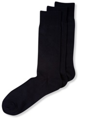 Perry Ellis Men's Socks Open Diamond Pattern Dress Crew 3 Pack Black