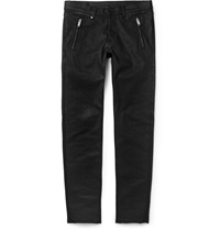 Alexander Mcqueen Leather Pocket Slim Fit Coated Denim Jeans Black