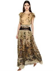 Alberta Ferretti Printed Silk Chiffon Dress W Lace