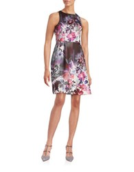 Adrianna Papell Floral Fit And Flare Dress Pink Multi