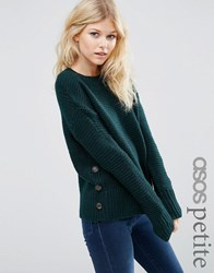 Asos Petite Jumper In Wool Mix With Button Detail Green