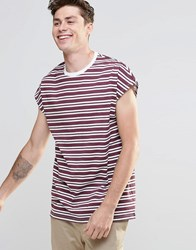 Asos Oversized Sleeveless T Shirt In Burgundy Stripe Burgundy White Red