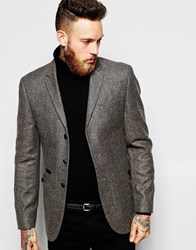 Asos Slim Fit Blazer In Tweed With Military Buttons Brown