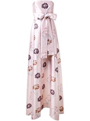 Rochas Floral Print Gown Pink And Purple