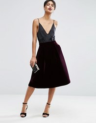 Asos Premium Prom Skirt In Bonded Velvet Berry Red