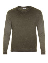 Valentino Star Panel Crew Neck Sweatshirt Grey