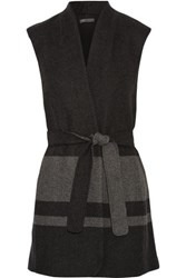 Vince Striped Wool Blend Twill Vest Charcoal