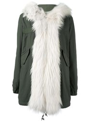 Mr And Mrs Italy Raccoon Fur Trim Parka Green