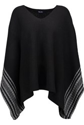 Splendid Striped Wool And Cashmere Blend Poncho Black