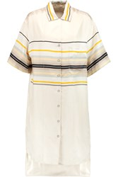 Rag And Bone Sail Striped Silk Shirt Dress White
