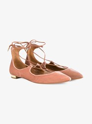 Aquazzura Christy Velvet Flats Pink Denim