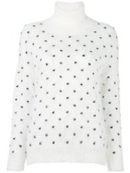 Giamba Polka Dot Turtle Neck White
