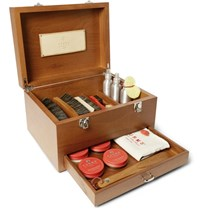 Turms Complete Shoe Care Kit With Wood Case Brown