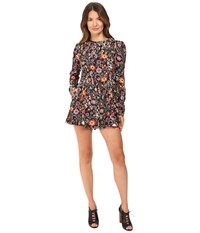 Red Valentino Fancy Flower Print Macrocaine Romper Black