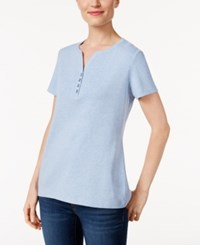 Karen Scott Henley T Shirt Only At Macy's Light Blue Heather