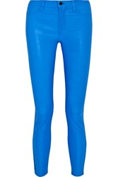 J Brand Neon Leather Skinny Pants Blue