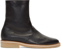 Lemaire Black Leather Fur Lined Boots