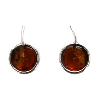 Goldmajor Amber And Silver Round Drop Earrings