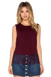 Central Park West Brown Fringe Sleeveless Sweater Wine