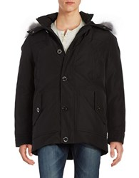 Michael Kors Fox Fur Trimmed Hooded Water Repellent Parka Black