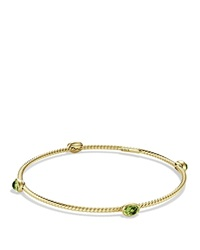 David Yurman Color Classics Four Station Bangle With Peridot Yellow Gold Green