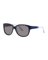 Thierry Mugler Crackle Effect Plastic Sunglasses Navy