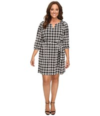 Christin Michaels Plus Size Kimball Geo Print Dress Black Cream Women's Dress